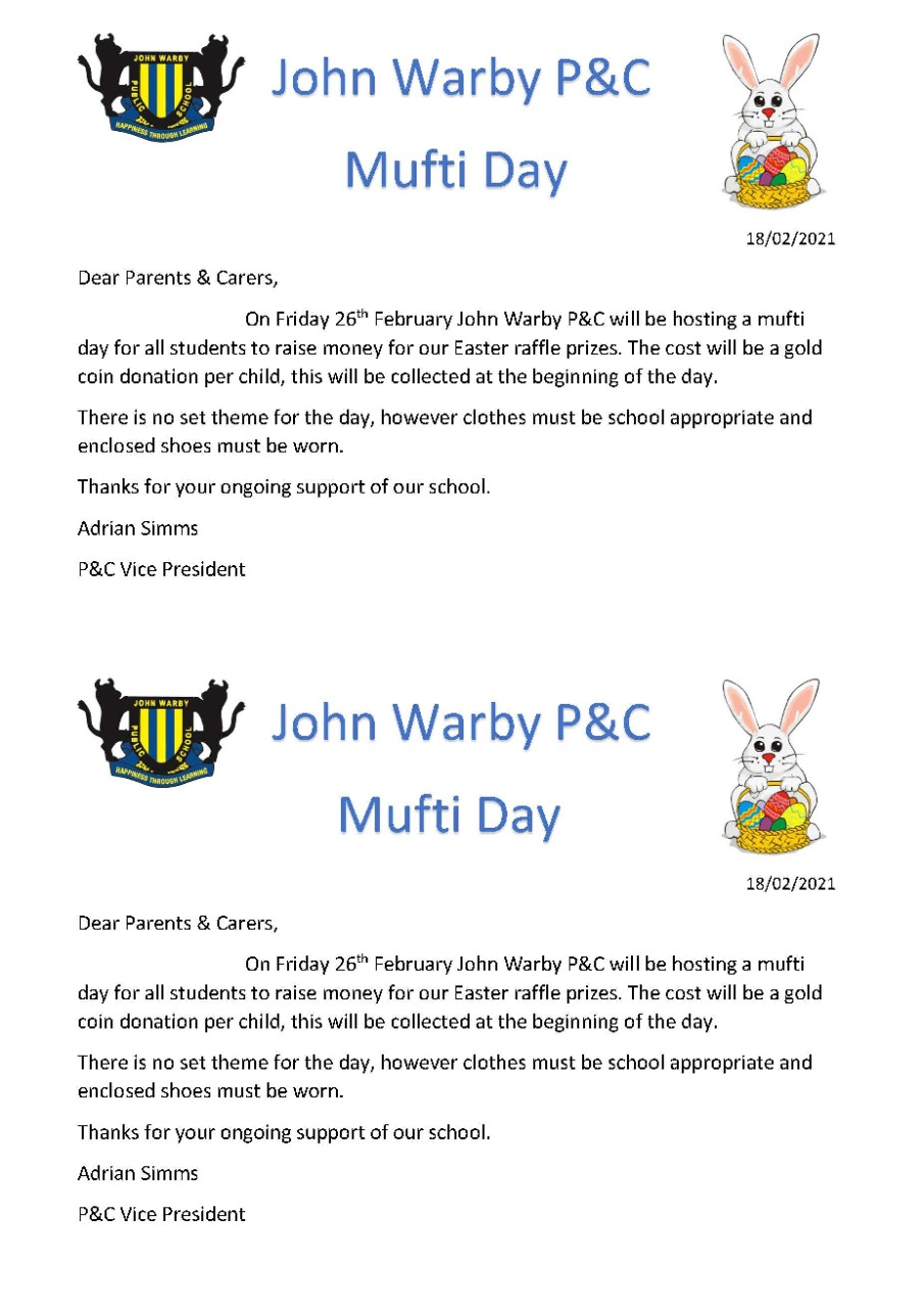 P and C Mufti Day Note